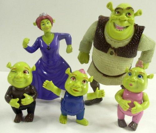 Shrek ogre 5 piece set birthday cake topper set featuring shrek