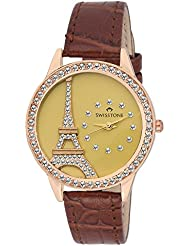 Swisstone JEWELS-LR211-GOLD Crystal Studded Golden Dial Brown Leather Strap Analog Wrist Watch For Women