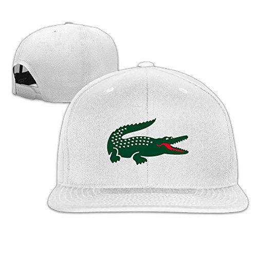 JAX D Custom Crocodile Flat Brim Baseball CapHat White