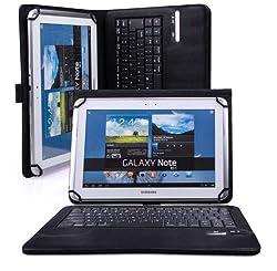 VSTN ® Toshiba Encore 2 10 inch windows 8.1 tablet Bluetooth Keyboard Portfolio Case - DETACHABLE Bluetooth Keyboard Stand Case / Cover (Black)