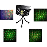 Lightahead® LED Projector Strobe flash Holographic Disco party Lighting Light Mini Protable Voice-activated Version with tripod for Club Dj Disco Bar Stage House etc (6 Patterns) (Black)