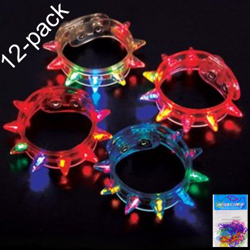 """2 Item Bundle: 12-Pack Flashing Light-Up Spiked Bracelets (9.5"""") And 12-Pack Silly Bands Silicone Bracelets - Great Party Favors For Adults And Kids"""