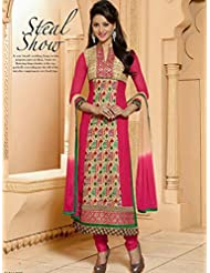 Typify Pink Pure Georgette Semistitch Dress Material