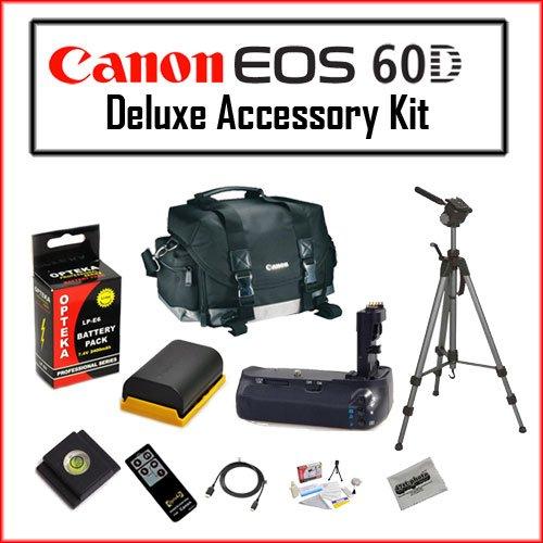Basic Accessory Bundle for Canon EOS 60D Kit Featuring Canon 200DG Digital Camera Gadget Bag - Black, Opteka LP-E6 2400mAh Ultra High Capacity Li-ion Battery Pack, High Quality Battery Grip BG-E9 for Canon 60D Digital SLR DSLR Camera, Opteka 70