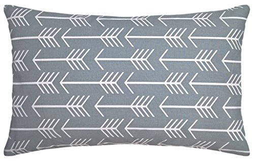 JinStyles Cotton Canvas Arrow Accent Decorative Lumbar Throw Pillow Cover (Slate Gray, White, Rectangular, 1 Cushion Sham for 16 x 26 Inserts)