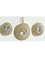 White Stone Studded Oval Shaped Pendant And Earrings - Stone And Metal