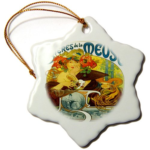orn_163684_1 Florene Art Deco And Art Nouveau - Image of alphonse muchas French beer ad with pretty lady - Ornaments - 3 inch Snowflake Porcelain Ornament