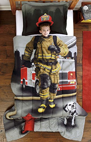 Dream Big Firefighter Ultra Soft Microfiber 2-Piece Comforter Sham Set, Gray, Twin (Fire Truck Comforter Set compare prices)