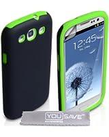 Yousave Accessories Coque rigide en silicone gel pour Samsung Galaxy S3 Vert/Noir
