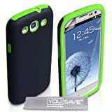 Samsung Galaxy S3 Case Dual Combo Cover Black / Green With Screen Protector