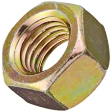 "Steel Hex Nut, Zinc Yellow-Chromate Plated Finish, Grade 8, Right Hand Threads, 1/4""-28 Threads, 0.505"" Width Across Flats, 0.226"" Height (Pack of 100)"