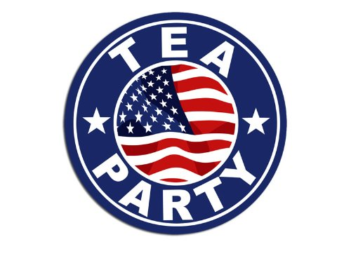 Round Tea Party Logo Sticker (Seal Insignia Decal)