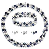S.Silver 925 6-7mm 2 Rows Cultured Freshwater Pearl Multi Color Necklace 18