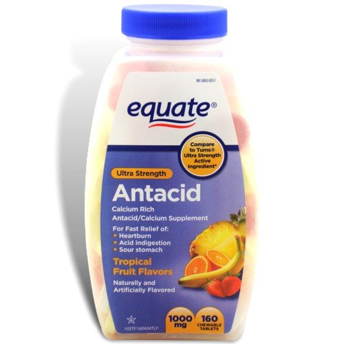 Equate - Antacid Tablets, Ultra Strength 1000 Mg, 160 Chewable Tablets, Tropical Fruit Flavors