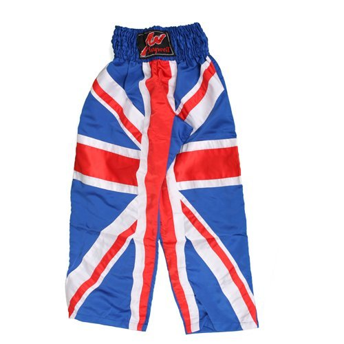 Playwell Full Contact Kickboxing 100% Satin Trousers Blue - Uk Flag Series