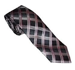 Croft & Barrow Men's Plaid Tie With Hanky & Tie Bar Set (Pink/Black)