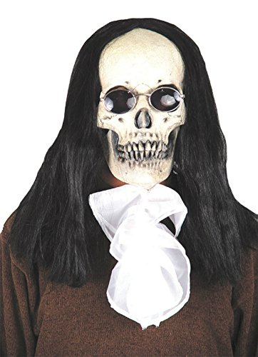 Goth Skull Deluxe With Hair Vampire Scary Latex Adult Halloween Costume Mask