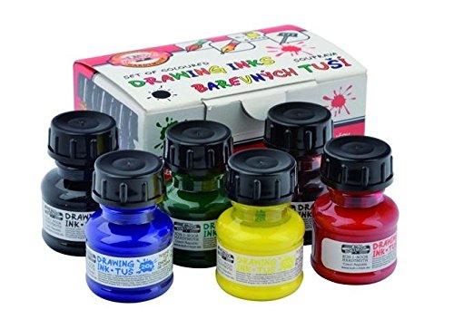 koh-i-noor-014173000000-reihe-von-farbigen-zeichnung-tinten-6x20-g-ink-set-50-x-99-x-65-cm