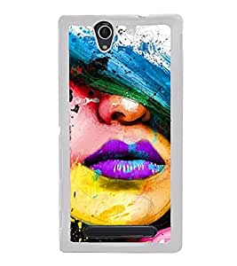 Girl with Purple Lips 2D Hard Polycarbonate Designer Back Case Cover for Sony Xperia C4 Dual :: Sony Xperia C4 Dual E5333 E5343 E5363