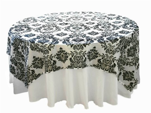 "90x90"" Black White Damask Flocking Table Top Overlays Linens"