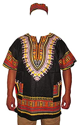 Men's Traditional African Dashiki Shirt & Matching Cap Set