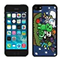 QIUCAI Colorful Damask iPhone 5C Case Black Cover High quality cell phone cases