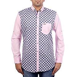 Aaduki Men's Casual Pink Shirt-L