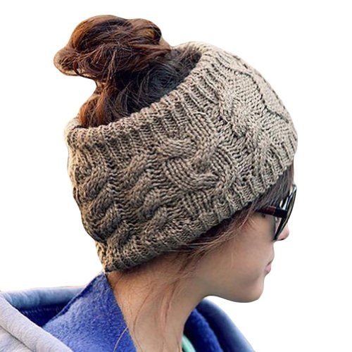 Cool2Day Girls Winter Warm Knitted Cable Headband Hat Cap (Model: Yf010386) (Khaki)