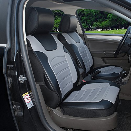 180204S Black/grey-2 Front Car Seat Cover Cushions Leather Like Vinyl, Compatible to Nissan Altima 370Z Armada Frontier Juke Leaf March Maxima Pathfinder Rogue Quest Sentra Tiida Versa X-Trail (370z Seat Covers compare prices)