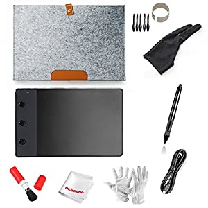 Huion H420 4 x 2.23 USB Graphics Drawing Tablet Board with Digital Pen, 10 Wool Liner Bag, Two Fingers Anti-fouling Glove and Pegear ® cleaning kits