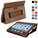 Snugg iPad 2 Leather Case in Distressed Brown - Flip Stand Cover with Elastic Hand Strap and Premium Nubuck Fibre Interior - Automatically Wakes and Puts the Apple iPad 2 to Sleep