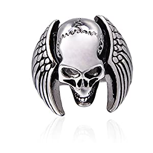 Valyria Schmuck Biker Herren Ring, Edelstahlring, Gotik Totenkopf Schädel Flügel Ring, Schwarz Silber (60 (19.1))