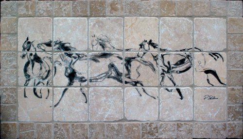 Buy Quot Running Horses Quot Tumbled Marble Tile Mural By