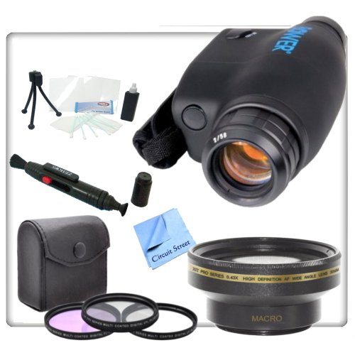 Thunder Eye Night Vision Monocular With Pro Package. Includes 0.43X Wide Angle Lens, 3 Piece Professional Filter Kit (Uv,Cpl,Fld) Monocular Cleaning Pen, Starters Kit & Cs Microfiber Cleaning Cloth