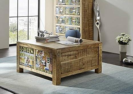 Meuble vintage en bois massif de manguier laqué 90 x 90 massivmöbel table basse en bois massif multicolore detroit#41