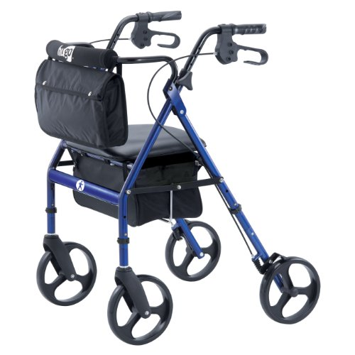 Hugo Elite Rolling Walker with Seat, Backrest and Saddle Bag