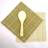 Green/Yellow Bamboo Sushi Kit Rolling Mat With Rice Paddle Set