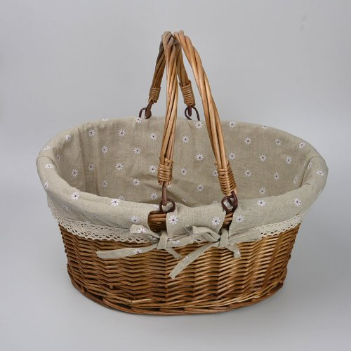 Rurality Vintage Wicker Picnic Basket with Double Folding Handles 1