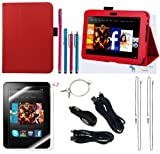 The Friendly Swede (TM) PU Leather Case Cover Bundle for Kindle Fire HD 7 Inch in Retail Packaging (NOT Compatible With Kindle Fire)(Red)