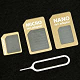 Gold Samdi Brand Nano Sim Adapter and Micro Sim Adapter and Nano to Micro Adapter with a Sim Card Folder and a Needle,pls Place in Wallet Help You Use It Anytime