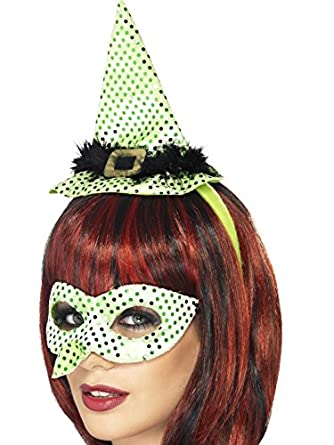 Smiffy's Women's Wicked Witch Instant Kit Nose Eyemask and Mini Hat On Headband