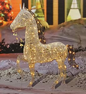 60 elegant glittered prancing horse lighted for Amazon christmas lawn decorations