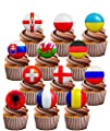 Euro 2016 Football Party Pack - Edible Stand-up Vanilla Flavoured Cup Cake Toppers (pack of 24)
