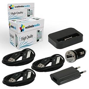 schwarz USB Ladekabel für iPhone, iPad und iPod - 6in1 Dockingstation Ladekabel iPhone 4 4S - Ladegerät Datenkabel Dock Netzteil schwarz orgenal walindamedia