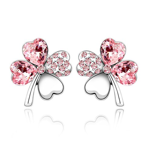 Swarovski Elements Pink Crystal Four Leaf Clover Love Heart Silver Plated Earring