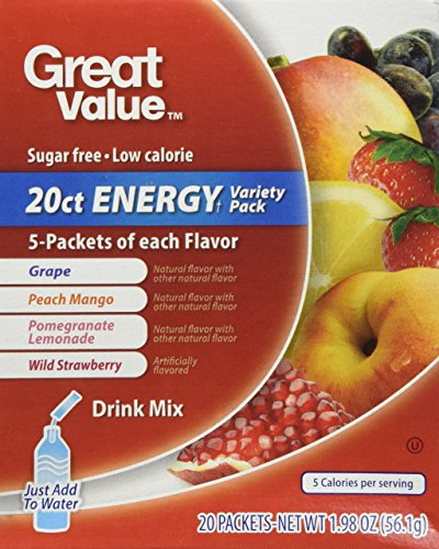 Great Value Sugar Free, Low Calorie 20 ct ENERGY Variety Pack Drink Mix (Great Value Grape Sugar Free compare prices)