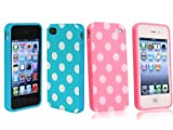 Importer520 2 in 1 Combo Polka Dot Flex Gel Case for Iphone 4 and 4S - Baby Blue and Pink