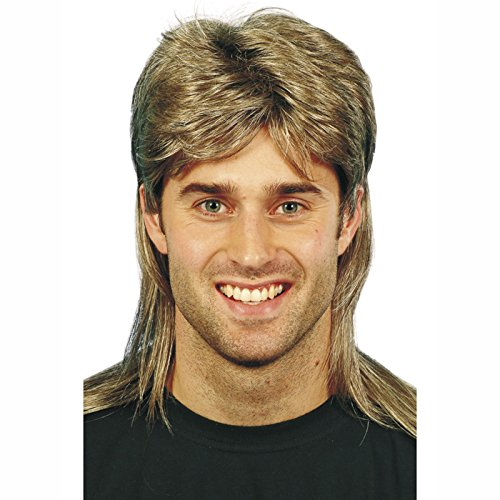 Men's Mullet Wig Highlights, Brown. Add to a shellsuit for the ultimate 80s look!