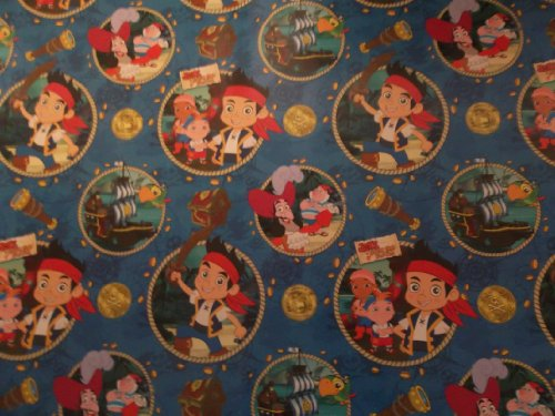 Disney Hallmark Jake and the Neverland Pirates Gift Wrap Wrapping Paper (1 Roll, 20 Sq. Ft.)