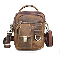 Amango Handmade Retro Crazy Horse Leather Waist Bag Shouder Bag for Phone Brown A3004